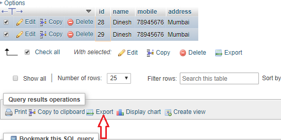 Export Data From a Particular Id