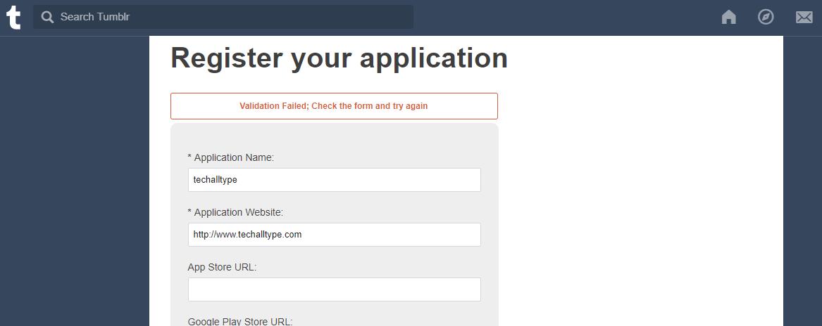 Register app to get keys from tumblr oauth